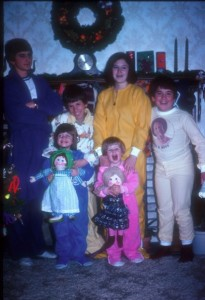 The traditional Christmas eve family pose circa 1976. I'm in the new blue Footie PJ's and so excited about my new doll from grandma.