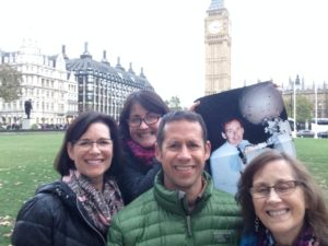 Tara with family at Big Ben on Alzheimer's Tribute Trip