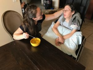 Caregiver Jess and mom with fall soup