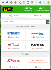 shop with online coupons at ebates